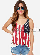 New Sexy Women USA FLAG Tank Top American Patriot Sleeveless Tee T-Shirts Blouse