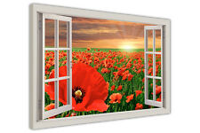 RED POPPY FIELD 3D WINDOW VIEW FRAMED CANVAS WALL ART PRINTS FLORAL ART PICTURES