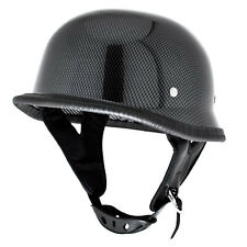 Carbon Fiber Low Profile WWII German Half Helmet Gloss DOT Motorcycle - S/M/L/XL