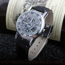 New Casual Faux Leather Skeleton Dial Men Women Boy Business Unisex Watch Gift
