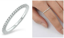 Sterling Silver 925 STACKABLE ETERNITY CLEAR CUBIC ZIRCONIA RING 2MM SIZES 4-10