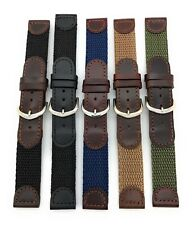 16mm Black Brown Leather Nylon Canvas Watch Band Fits Swiss Army Watch