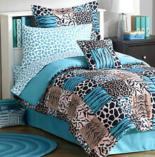 TURQUOISE BLACK ZEBRA STRIPE LEOPARD ANIMAL PATCH Comforter Set Queen/Full/Twin