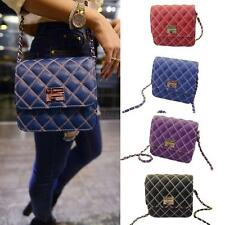 Women Retro Chain Strap Shoulder Bag Quilted Faux Leather Messenger Bag Satchel