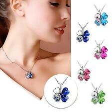 Vintage Necklace Leaf Clover Flower Pendant Alloy Neck Chain Jewelry for Women