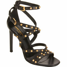 NEW BOX YSL YVES SAINT LAURENT PARIS JERRY BLACK STUDDED SANDALS STILLETO