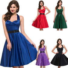 SUMMER RED 1950's Vintage Halter Pinup Party Robes Rockabilly PROM Evening Dress