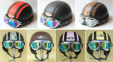 New Open Face Leather Half of Motorcycle Scooter Helmet Goggles/Visor 7 Color