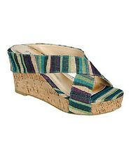 Blue Stripe Levana Wedge Womens Wedge Heel Bamboo Spring Summer striped syntheti