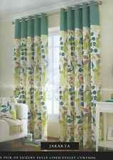 Green Floral Eyelet Ring Top Ready Made Curtains Pair  8 Sizes + Cushion Covers