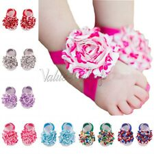 New Baby Infant Girl Kid Flower Foot Band Ties Barefoot Sandals Shoes Photo Prop