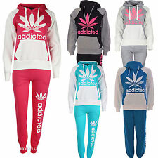 LADIES WOMENS ADDICTED PRINT CONTRAS TRACKSUIT JOGGING HOODIE BOTTOMS SIZE 8 -14
