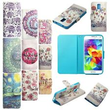 Wallet Case Cover For Various Phones Leather Flip Stand Card Slot Pouch Printed