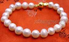 "SALE Big 8 to 9mm Natural White freshwater Pearl 7.5"" bracelet -bra273"