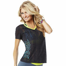 Zumba Fitness Cut Up Over You V-Neck! Sew Black! Comfy & Cute! NWT! SHIPS FAST!