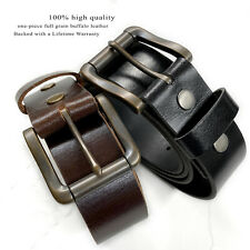 "Roller Buckle Casual Jean Belt Full Grain Leather Belt, 1-1/2"" Wide"