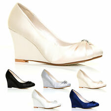 WOMENS SATIN WEDDING SHOES BRIDESMAID PARTY WEDGE HEEL DIAMANTE SHOE SIZE 3 – 8