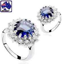Gorgeous Lady Sapphire Ring Rhinestone Classic Jewelry Blue Crystal JRING 16
