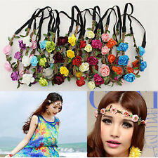 New Boho Floral Flower Lady Girls Elastic Hairband Headband for Wedding Festival
