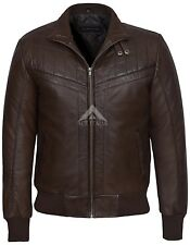 Men's New Brown Designer Quilted 70'S Style Bomber Real Soft Leather Jacket 4757