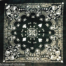 LATEST BANDANA BLACK SKULL PRINT PLAYING CARDS HEADWEAR/HEADBAND HEADTIE