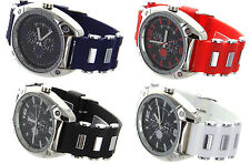 Jumbo Big Face Chrome Finish Watch with Rubber Bullet Band