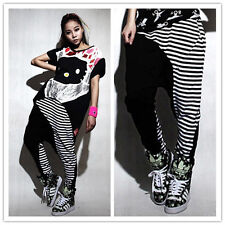 New Adult Stripe Spliced Sweatpants Costumes patchwork Harem Hip Hop Dance Pants