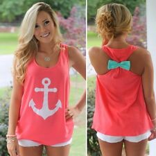Fashion Women Summer Vest Sleeveless Blouse Casual Tank Tops T-Shirt Bow Cosy