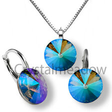 Sterling Silver Earrings Necklace Set Paradise Shine Crystals from Swarovski®