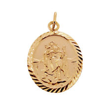 9ct Rose Gold Plated Oval St Christopher Pendant With Chain & Engraving Option