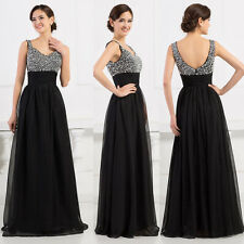DISCOUNT~Formal Evening Wedding Gowns Bridesmaids Party long Prom Dresses Black