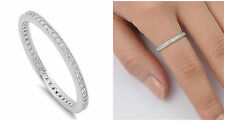.925 Sterling Silver 2MM STACKABLE ETERNITY DESIGN CLEAR CZ BAND RING SIZES 4-10