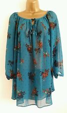 NEW Size 16 Chiffon Floral Polka Dot Print Teal Blue Tunic Top Blouse