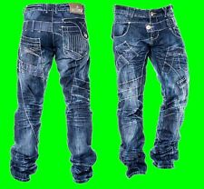 Mens KOSMO LUPO Denim Jeans New Blue Funky Faded Sale Zip Fly Waist Size 30 - 38