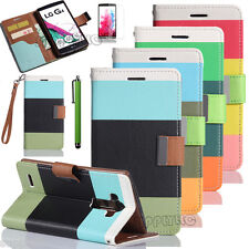 For LG G4 Hybrid Leather Credit Card Holder Pouch Wallet Protective Case Cover