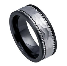 8mm Men's or Ladie's Ceramic Base with Tungsten Carbide Inlay Wedding Band Ring