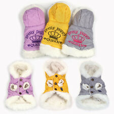 WONPET Pet Winter Crown Padded Jacket Hoodie Coat Fur Lined Dog Puppy Clothes