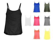 New Womens Plain Swing Strappy Cami Tank Top Ladies Vest Sleeveless Lot Top