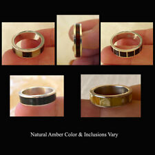 BALTIC INLAID MULTICOLOR AMBER & STERLING SILVER HANDMADE UNISEX RING BAND