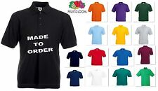 NEW FRUIT OF THE LOOM PERSONALISED CUSTOM PRINTED COMPANY LOGO POLO SHIRTS S-5XL