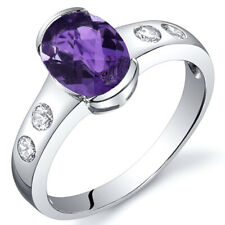 1.00 cts Amethyst Half Bezel Solitaire Ring Sterling Silver Size 5 to 9