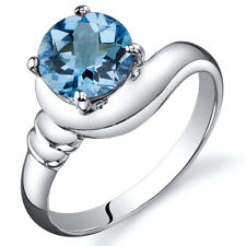 1.50 cts Swiss Blue Topaz Solitaire Ring Sterling Silver Sizes 5 to 9