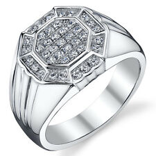 Mens Classy Sterling Silver Cubic Zirconia Ring Available Sizes 10 to 13