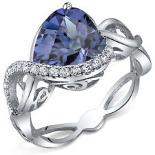 Swirl Design 4.00 cts Heart Shape Alexandrite Ring Sterling Silver Size 5 to 9