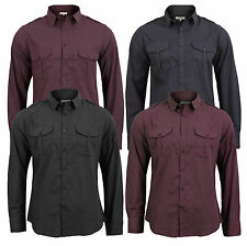 Brave Soul Mens Long Sleeve Pin Stripe Or Micro Check New Casual Dress Shirt Top