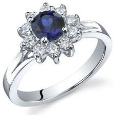Ornate Floral 0.75 cts Sapphire Ring Sterling Silver Size 5 to 9