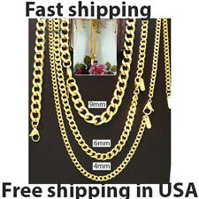 18 k gold Stainless steel Link Curb Cuban Chain Necklace Bracelet 4,6,9mm 7-36''