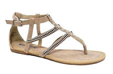 DOROTHY PERKINS NEW NUDE BEAD STUD GLADIATOR ANKLE STRAP SANDALS RRP £18 UK 4-8