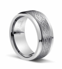 8MM Silver Celtic Knot Tungsten Carbide Wedding Band Ring