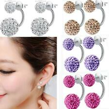 Fashion Women Fashion Jewelry 925 Sterling Silver Double Beads Crystal Earrings